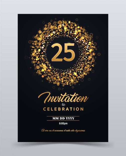25 Lat Rocznicowego Zaproszenia Karty Szablonu Odosobniona Wektorowa Ilustracja Premium Wektorów