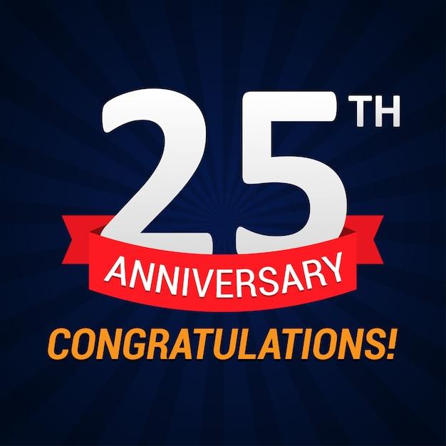 25-lecie obchodów z czerwoną wstążką Premium Wektorów