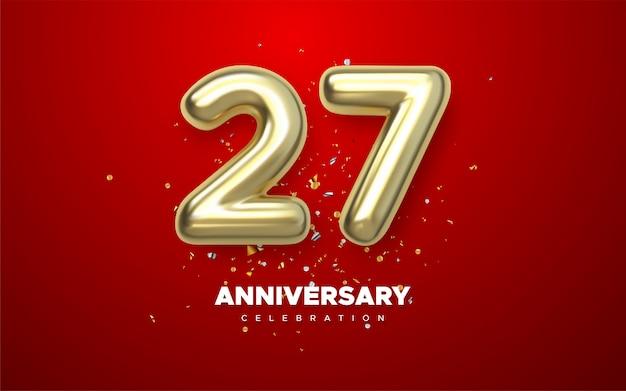 27 Rocznica, Minimalistyczny Rok Logo Jubileusz Na Czerwonym Tle Premium Wektorów