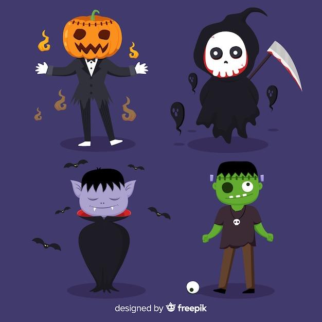 2d kolekcja postaci na halloween Darmowych Wektorów