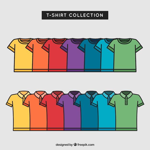 2d kolorowa kolekcja t-shirt z ręcznie rysowane stylu Darmowych Wektorów