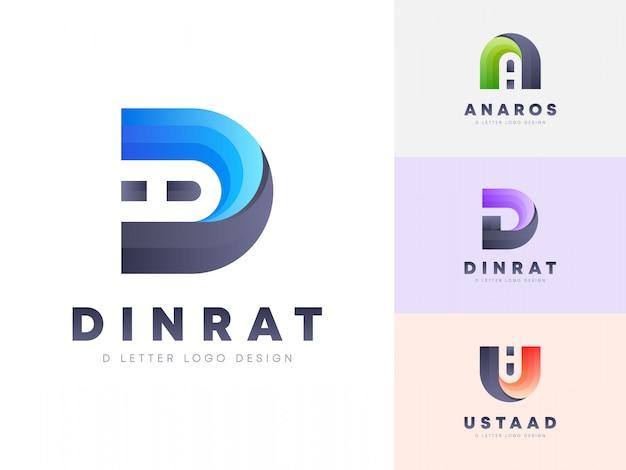 3 Stylowe Kolorowe Logo Litery D Premium Wektorów