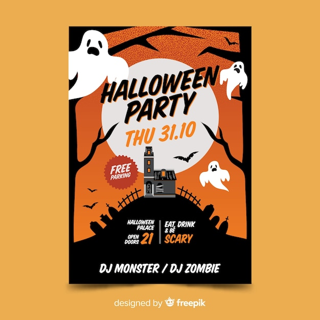 31 Października Ghosts Halloween Party Plakat Darmowych Wektorów