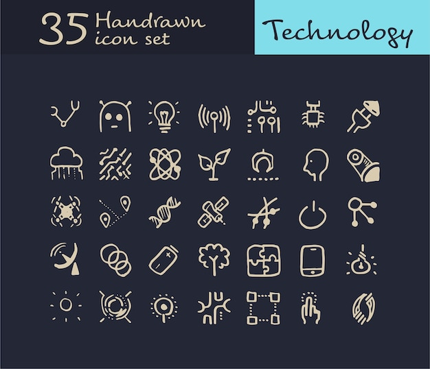 35 Hand Drawn Technology Icon. Doodle Ikona Technologii Premium Wektorów