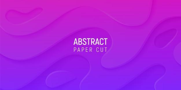 3d Abstrakcyjne Tło Z Fioletowym I Różowym Papierem Wyciąć Fale Gradientu Premium Wektorów