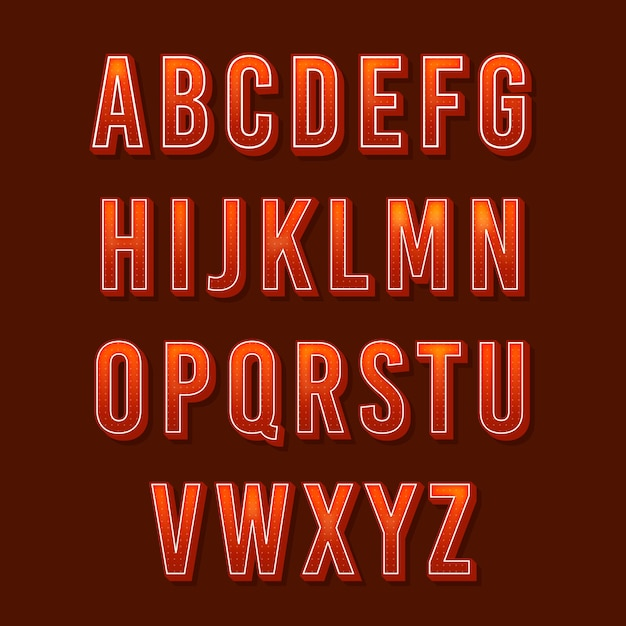 3d Alfabet Retro Darmowych Wektorów