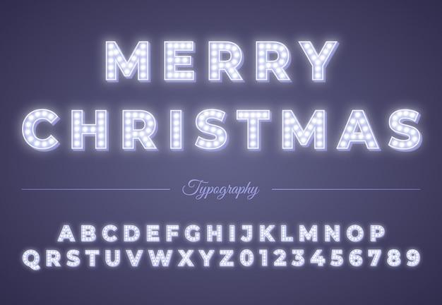 3d Alfabet żarówki świąteczne. Zimowe święta Bożego Narodzenia Lub Nowego Roku. Retro świecące Czcionki. Vintage Typografii Premium Wektorów