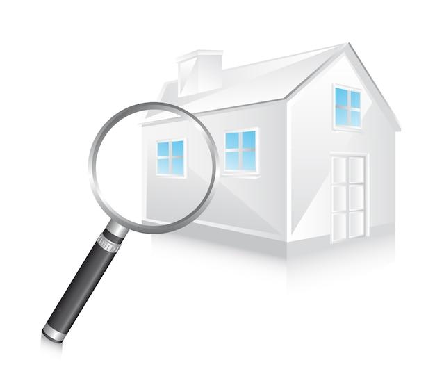 3d biały dom z powiększać - szklana wektorowa ilustracja Premium Wektorów
