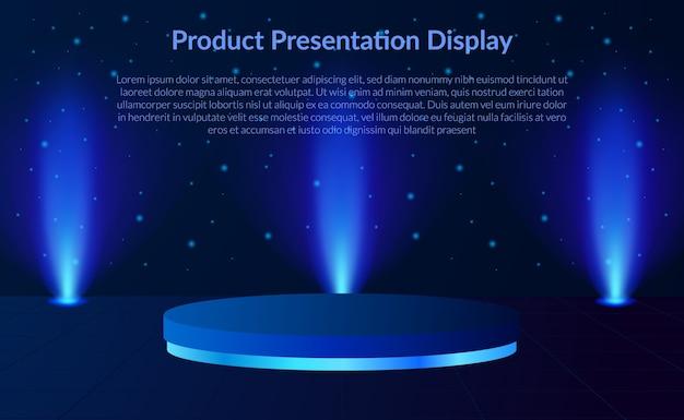 3d Cylindryczny Wyświetlacz Produktu Na Podium Z Neonową Lampą Punktową W Tle Premium Wektorów