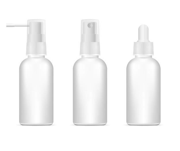 3d ilustracja pusty pojemnik farmaceutyczny zestaw Premium Wektorów