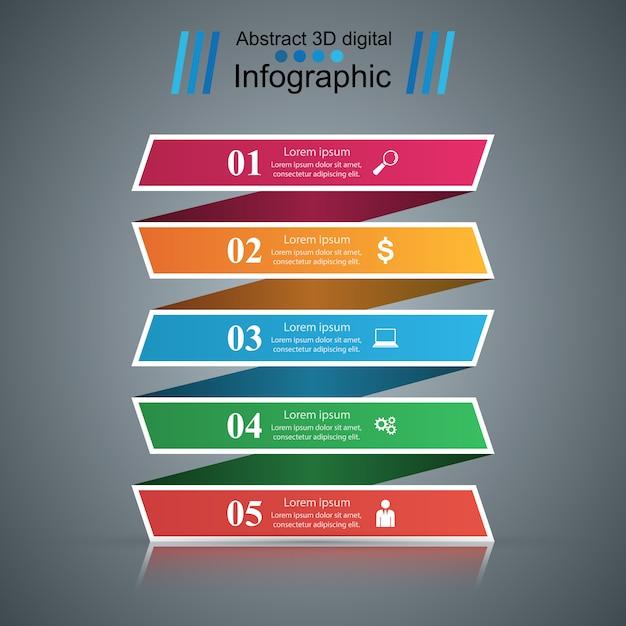 3d infographic projekta szablon i marketingowe ikony. Premium Wektorów