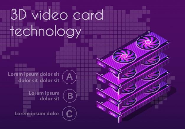 3d izometryczny karta graficzna wideo Premium Wektorów