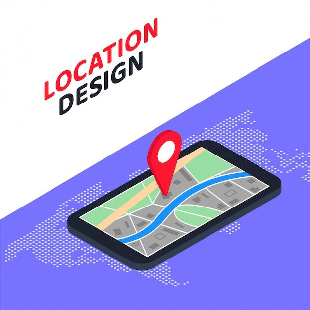 3d Izometryczny Mobilny Nawigacja Gps Koncepcja Lokalizacji Projektu Premium Wektorów