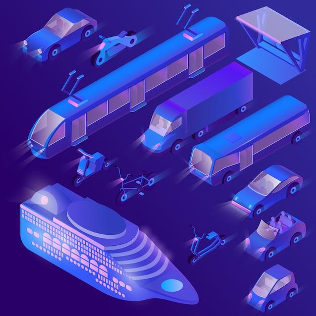 3d izometryczny ultra fioletowy transport miejski Darmowych Wektorów