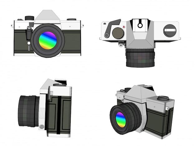 3d kamery fotografii wektor Premium Wektorów