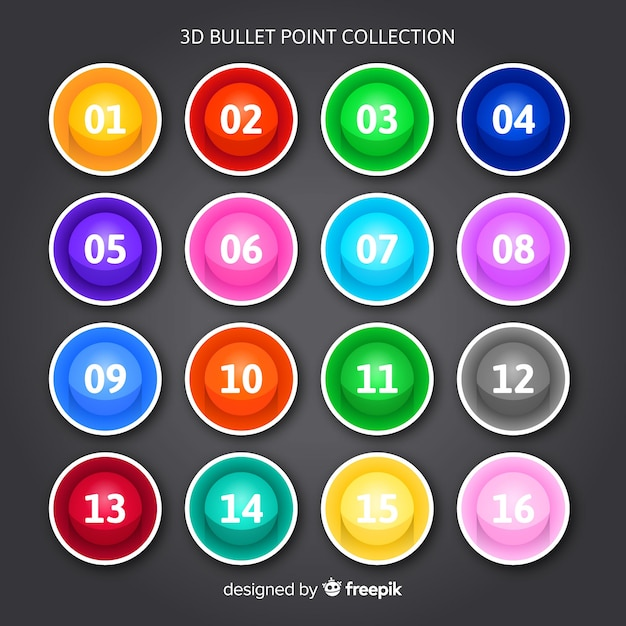3d kolorowa pocisk punkt kolekcja Darmowych Wektorów