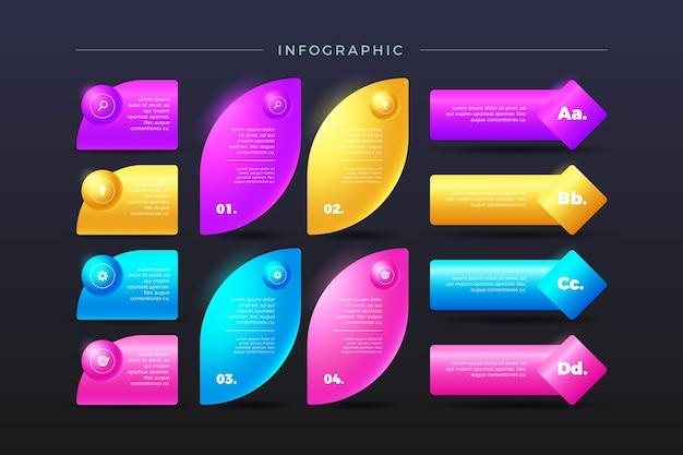 3d Kolorowy Flossy Infographic W Różnych Kształtach Darmowych Wektorów