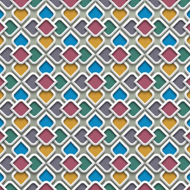 3d kolorowy wzór w stylu islamskim Premium Wektorów