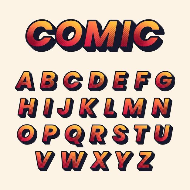 3d Komiks Alfabet Darmowych Wektorów