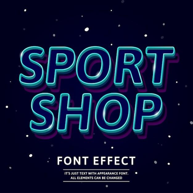 3d kontur krój tekstu efekt logo sport nagłówek sklepu Premium Wektorów