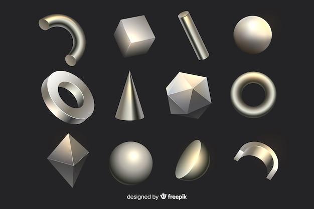 3d kształty geometryczne Darmowych Wektorów