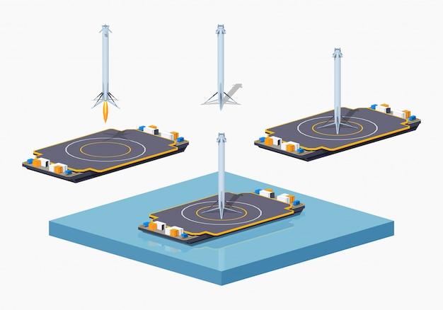 3d lowpoly izometryczna barka lądowania Premium Wektorów