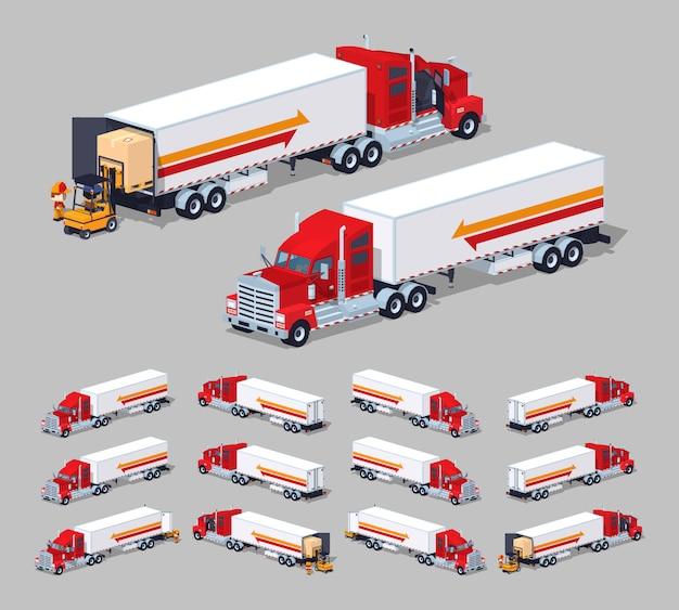 3d lowpoly izometryczna ciężka amerykańska ciężarówka z przyczepą Premium Wektorów