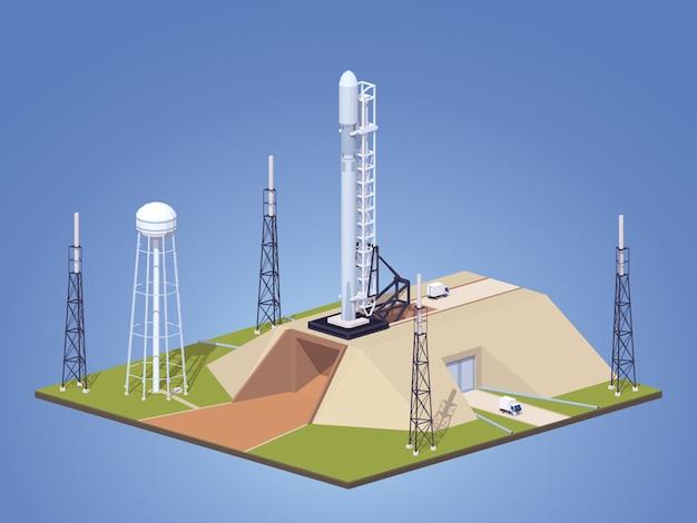3d lowpoly izometryczna nowoczesna rakieta kosmiczna na platformie startowej Premium Wektorów