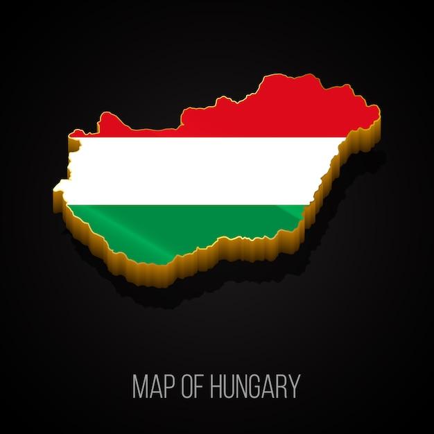 3d Mapa Węgier Premium Wektorów