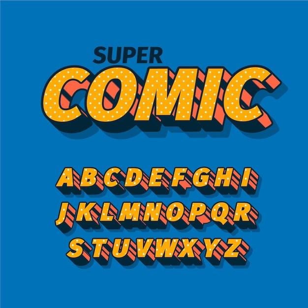 3d Motyw Komiksu Alfabetu Darmowych Wektorów