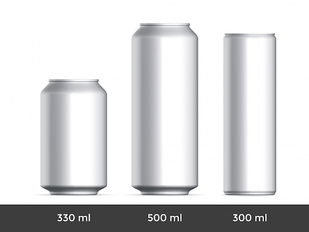 3d Może. Aluminiowe Piwo Lub Napój Gazowany Może Pusty Szablon Premium Wektorów
