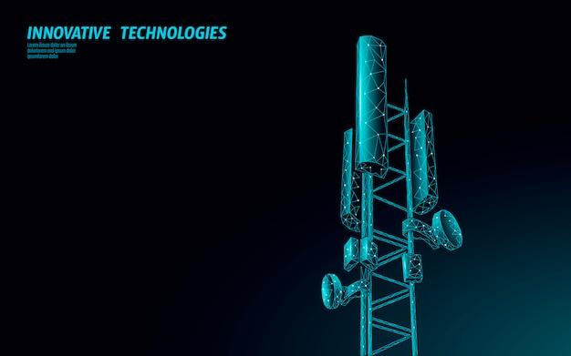 3d Odbiornik Stacji Bazowej. Wieża Telekomunikacyjna 5g Wielokątny Globalny Nadajnik Informacji O Połączeniu. Mobilna Antena Radiowa Komórkowa Ilustracja Premium Wektorów