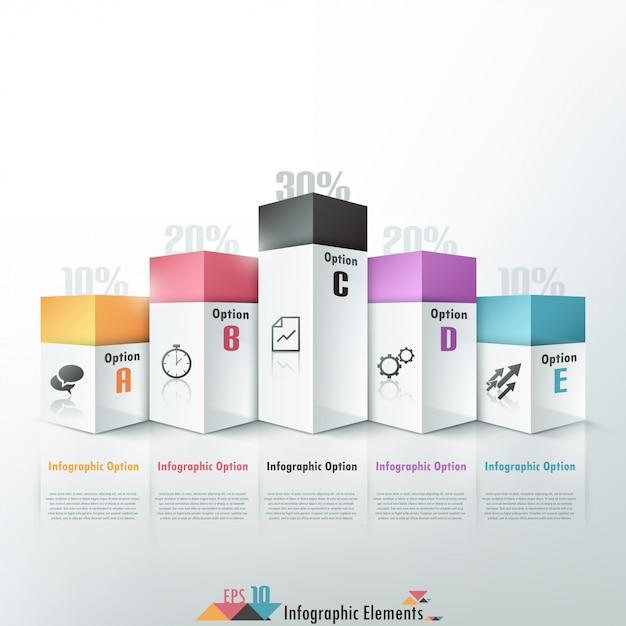 3d opcje infografiki nowoczesny transparent Premium Wektorów