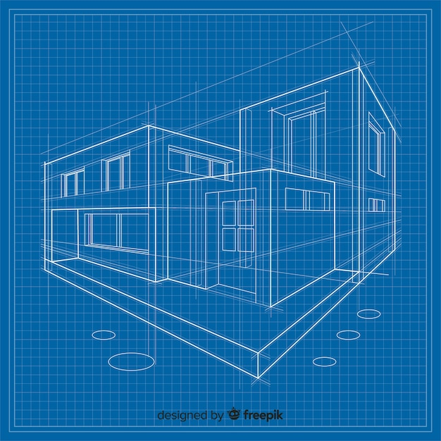 3d plan budynku Darmowych Wektorów