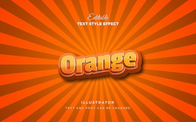 3d Pomarańczowy Efekt Stylu Tekstu Premium Wektorów