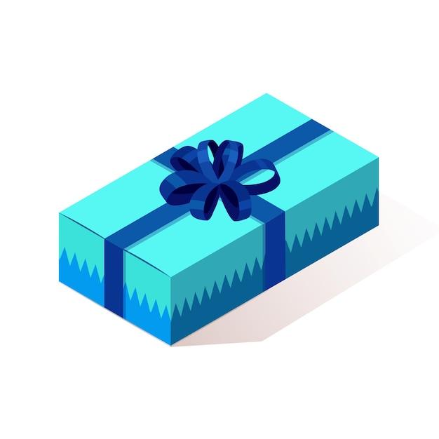 3d Pudełko Izometryczny, Obecny Z Wstążką, łuk Na Białym Tle Na Tle. Premium Wektorów