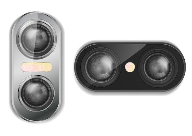3d Realistyczna Podwójna Kamera Dla Smartphone Z Dwa Obiektywami I Błyskiem, Odosobnionymi Na Tle. Darmowych Wektorów
