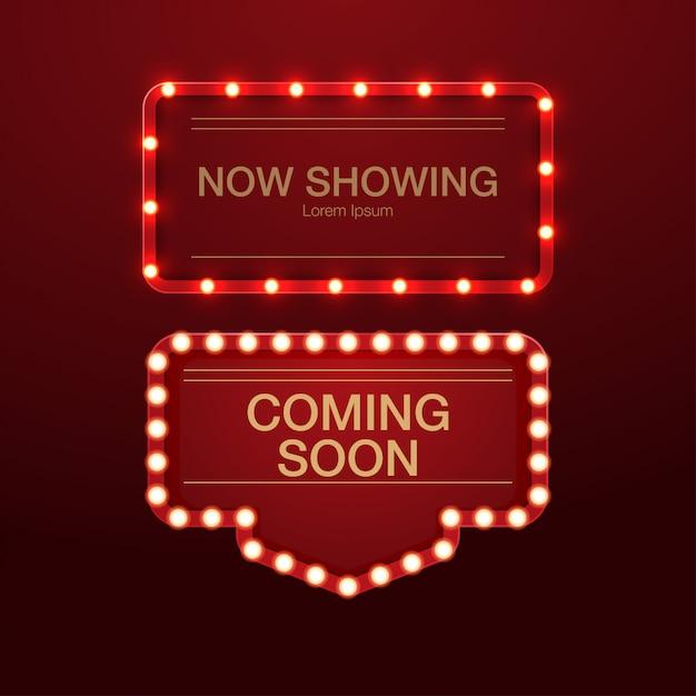 3d realistyczne tło retro lightbox billboard dla kina, baru lub restauracji Premium Wektorów