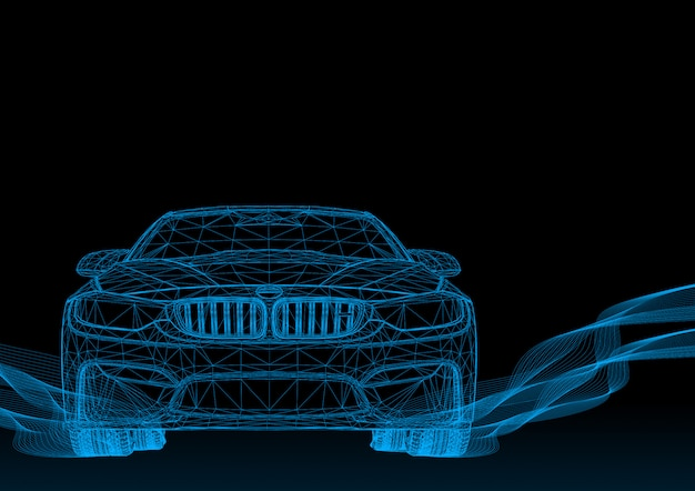 3d samochód z niebieskimi paskami Premium Wektorów