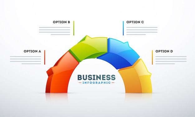 3d Semi Okrąg Z Cztery Opcjami Dla Biznesowego Infographic Szablonu Premium Wektorów