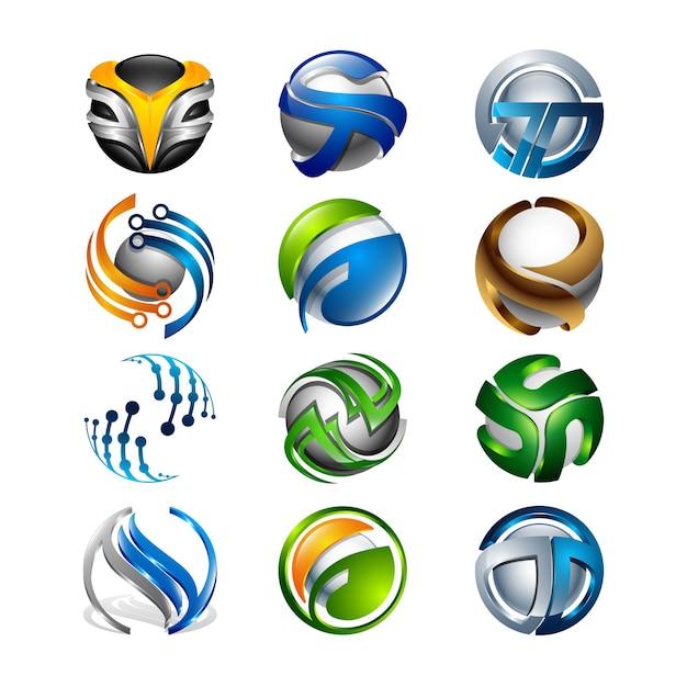 3d Set Abstrakcjonistyczne Round Glansowane Logo Sfery Różne Premium Wektorów