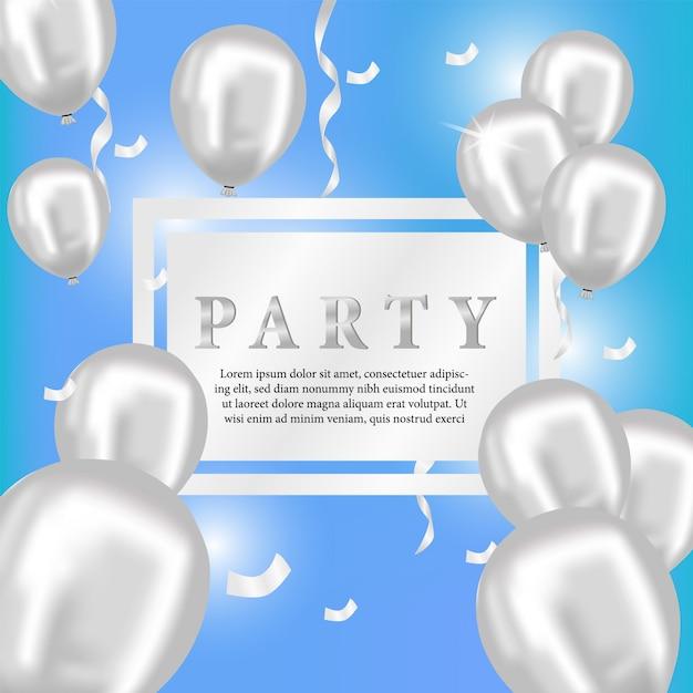 3d Srebrny Balon Strona Dla Karty Z Pozdrowieniami Premium Wektorów