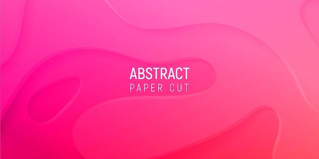 3d Streszczenie Tło Z Różowego Papieru Wyciąć Fale Gradientu Premium Wektorów