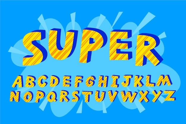 3d Super Komiks Litery Alfabetu Darmowych Wektorów