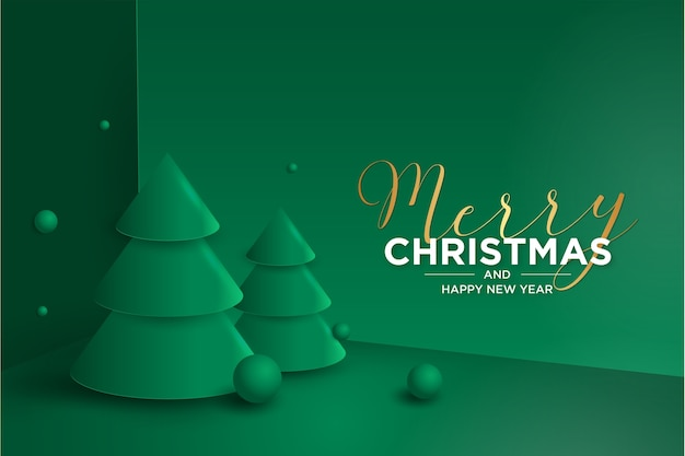 3d Wesołych świąt I Nowego Roku Karty Z Choinką Darmowych Wektorów