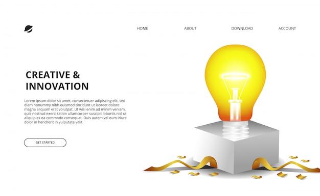 3d żarówki łuna Z Białym Pudełkiem I Złotymi Confetti Ilustracjami Dla Biznesu I Innowaci Premium Wektorów