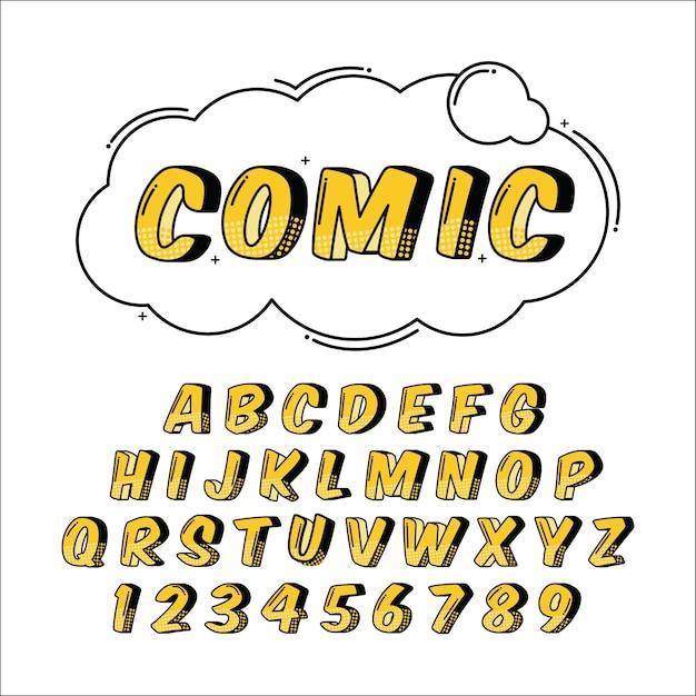 3d Zestaw Komiks Alfabetu Darmowych Wektorów