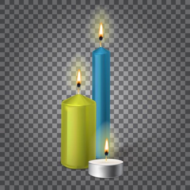3d Zestaw Realistyczne świece Parafinowe Na Białym Tle Premium Wektorów