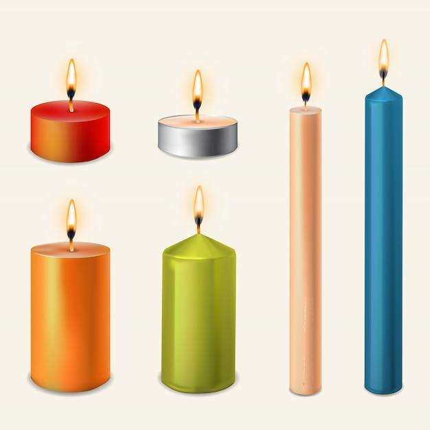 3d Zestaw Realistyczne świece Parafinowe Na Przezroczystym Tle. Premium Wektorów