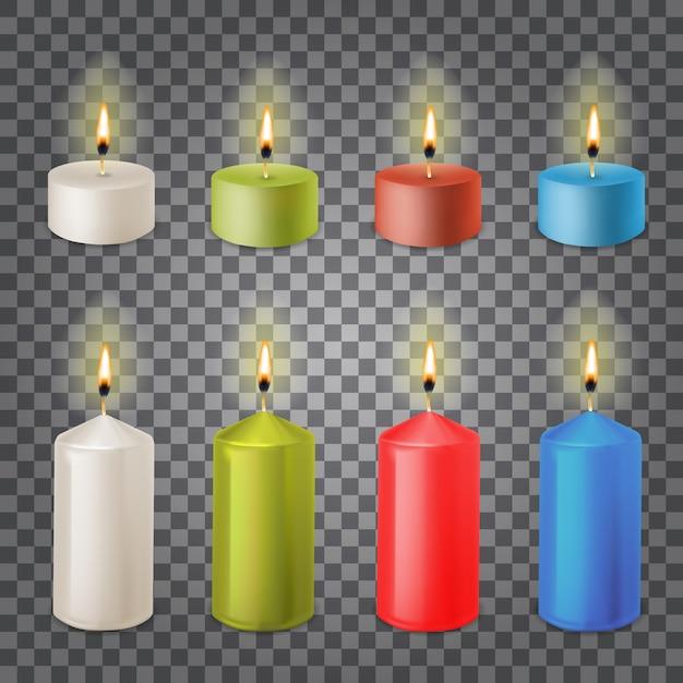 3d Zestaw Realistyczne świece Parafinowe Na Przezroczystym Tle Premium Wektorów